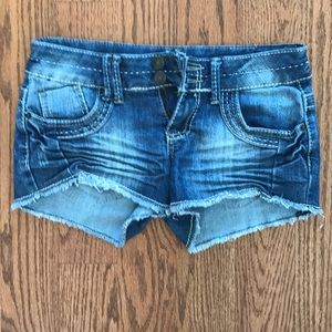Cute denim shorts with tribal detail on the butt